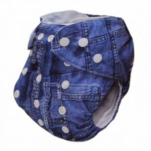 Alva Baby One Size Washable Reusable Cloth Diaper Fit For 6-33lbs Baby Jeans Two Inserts J01