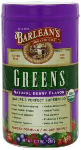 "Barlean""s Greens Natural Berry Flavor, 8.78-ounce Bottle"