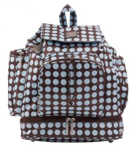 Kalencom Heavenly Dots Diaper Backpack, Chocolate-blue