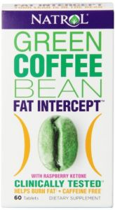 Natrol Fat Intercept Tablets, Green Coffee Bean With Raspberry Ketones, 60-count