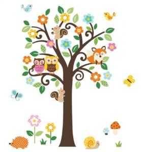 Giant Peel & Stick Nursery Decal - Forest Animals & Flowers Tree For Boys & Girls Tree Assembles 4.7 Feet Tall