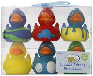 Luvable Friends Printed Rubber Ducks, Multicolor, 6-count