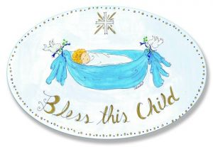 The Kids Room Bless This Child With Cross Boys Oval Wall Plaque