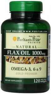 "Puritan""s Pride Premium Natural Flax Oil 1000 Mg Omega-3, 6 & 9 Cold Pressed, 120 Softgels"