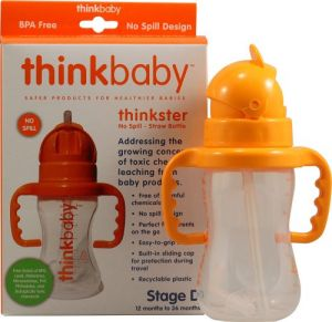 Thinkbaby Thinkster Straw Bottle, 9 Ounce, Natural-orange