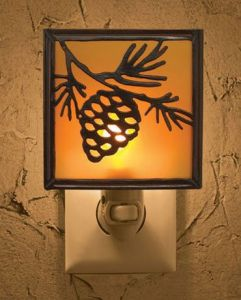 Pinecone Silhouette Lodge Cabin Night Light