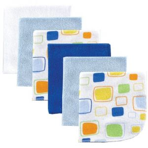 Luvable Friends 6 Pack Washcloths, Blue