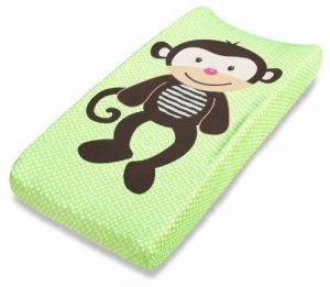 Summer Infant Plush Pals Changing Pad Cover, Green-brown Monkey