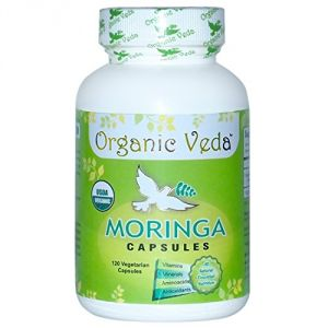Organic Moringa Powder 120 Veg Capsules. Pure And Natural Raw Herbal Dietary Super Food Supplement. Non Gmo, Gluten Free. Us Fda Registered Facility.
