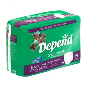 Depend Underwear Super Plus Absorbency Size Small-medium Pk-18