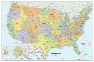 Brewster Wall Pops Wpe99073 Peel & Stick Usa Dry-erase Map With Marker