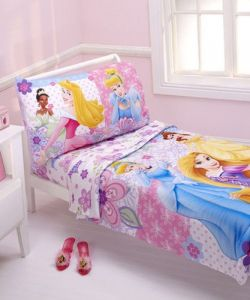 Disney Princesses Wishes & Dreams 4-piece Toddler Bedding Set Cinderella, Aurora, Rapunzel, Belle And Tiana Toddler Size