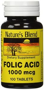 Folic Acid 1000 Mcg 1,000 Mcg 100 Tabs By Natures Blend
