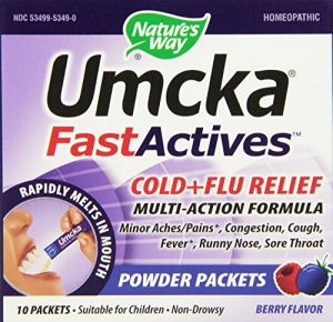 "Nature""s Way Umcka Fastactives, Berry Cold+flu 10 Packets Per Sleeve, 6 Sleeves Per Box."