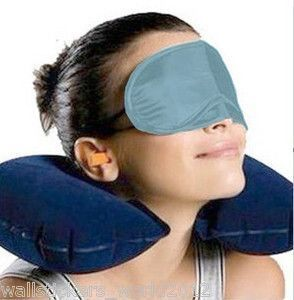 3 In 1 Travel Set-air Neck Pillow Cushion Car-eye Mask Sleep Rest Shade-ear