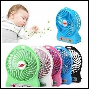Computer Fans - Mini Portable USB Rechargeable High Power 3-speed Fan For Travel