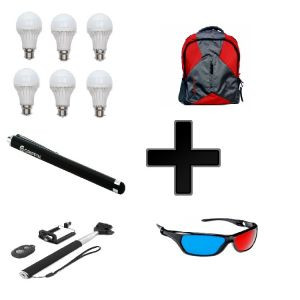 Vizio Combo Of 20 W LED Bulbs(set Of 6) With Office Beg , Selfie Stick , Stylus Pen , 3d Glass
