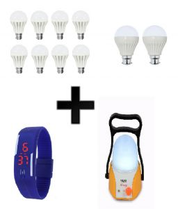 Vizio Combo Of 7 W LED Bulbs(set Of 8), 3 W LED Bulbs(set Of 2), Emergency Lamp, With Digital Watch