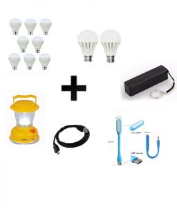 Vizio Combo Of 12 W LED Bulbs(set Of 8) , 7 W LED Bulbs(set Of 2) With 2600 mAh Power Bank , Emergency Lantern, USB Light , Data Cable