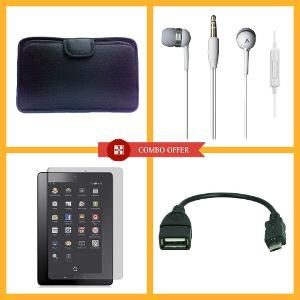 "Tablet Accessories - 7"" Tablet PC Soft Case   In-the-ear Earphone   7"" Tablet PC Screen Protector   V8 OTG Cabale - Set of 4"