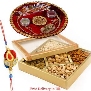 Rakhis & Gifts (Abroad) - Rakhi with Dry Fruits for United Kingdom