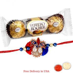 Sugarfree sweets & chocolates - Rakhi with Ferrero Rocher for USA