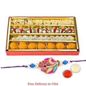 Rakhi Mithais (USA) - Assorted Sweets with Rakhi for USA