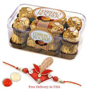 Sugarfree sweets & chocolates - Ferero Rocher Chocolates with Rakhi for USA