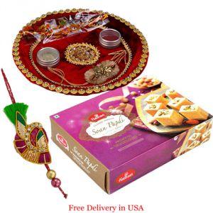 Rakhis & Gifts - Rakhi Thali with Soan Papri from Haldiram for USA