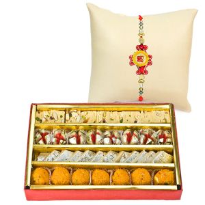 Assorted Sweets With Rakhi For United Kingdom