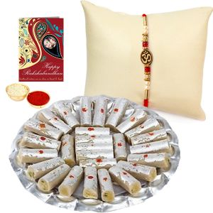 Rakhis & Gifts (USA) - Attractive Gift Set of Traditional Rakhi and Kaju Pista Roll for USA