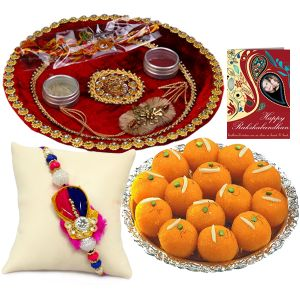 One Trendy Rakhi With Rakhi Thali And Boondi Laddo For Usa