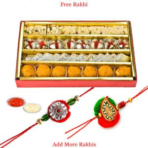 Rakhis & Gifts (India) - Haldiram's Tasty Assorted Sweets N Rakhi