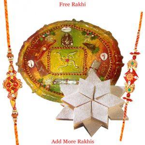 Rakhi Pooja Thalis (India) - Designer Pooja Thali N Haldiram Kaju Katli