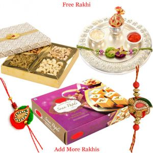 Rakhi Gift Hampers (for Brothers in India) - Silver Plated Thali Hamper with Haldiram Soan Papdi N Dry Fruits