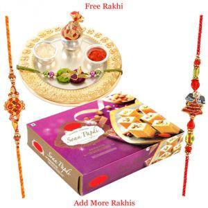 Rakhis & Gifts (India) - Haldiram Soan Papdi N German Silver Rakhi Thali