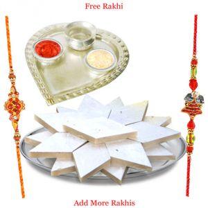 Silver & Gold Rakhi Thalis (India) - Silver Plated Paan Shaped Puja Aarti Thali with Haldiram Kaju Katli N Rakhi