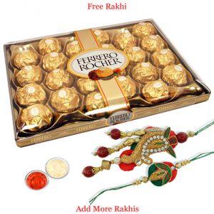 Rakhi Chocolates (India) - Rakhi Set with Ferrero Rocher Chocolate