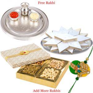 Rakhi Gift Hampers (for Brothers in India) - Thali with Dry Fruits and Haldiram Kaju Katli