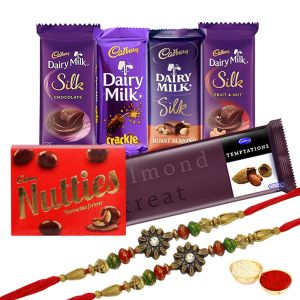 Irresistible Cadbury Chocolates Hamper With Rakhi