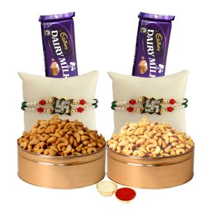 Impressive Combo Of 2 Trendy Rakhi With Dry Fruits N Chocolates