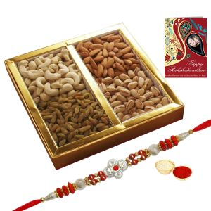 Mithais ,Dryfruits ,Chocolates  - Exotic Dry Fruits Platter with Free Rakhi