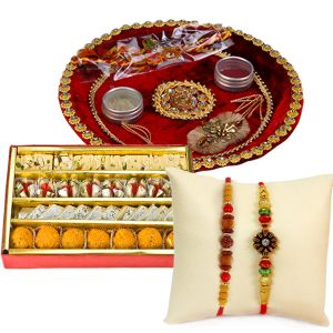 Rakhis & Gifts - Pooja Thali N Haldiram Tasty Assorted Sweets