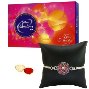 Silver Plated Rakhi With Cadbury Celebration For Kids