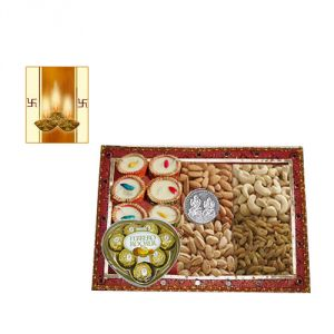 Dry Fruits - Dry Fruits and Chocolate with Free Diya for Diwali