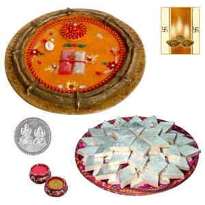 Designer Puja Thali With Badam Katli And Free Diya