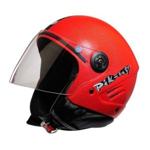 Bike Helmets - Pik-Up Open Face ISI Helmet- K10 Red