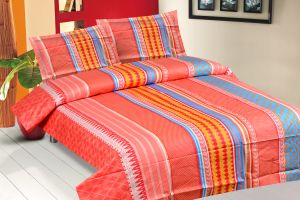 Bed Sheets - Royal Choice Multi colour Cotton Double Bedsheet Alongwith Two Pillow Covers