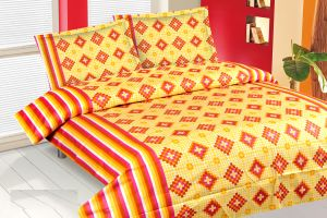 Suhanee,Kreativekudie,Akai,Rachna,Intex,Kaamastra,Taparia Home Decor & Furnishing - Royal Choice Yellow Cotton Double Bedsheet Alongwith Two Pillow Covers
