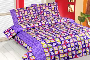 Double Bed Sheets - Royal Choice Purple Cotton Double Bedsheet Alongwith Two Pillow Covers